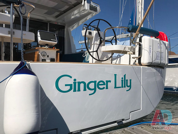 Ginger Lily Transom, Boat Name