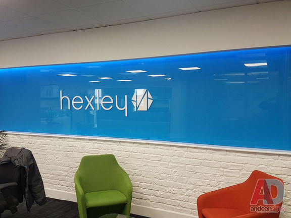 Hexley, acrylic panel blue vinyl to rear, acrylic letters
