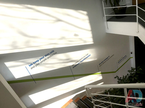 Cyan stair well - cut vinyl graphics