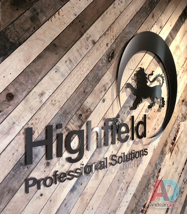 Highfiled, Brushed stainless steel flat cut letters