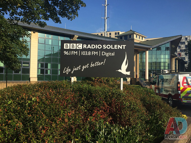BBC Radio Solent panel post sign