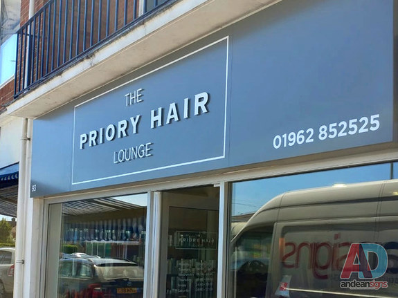 Priory Hair Lounge, stainless steel letters vinyl graphics applied to sign tray