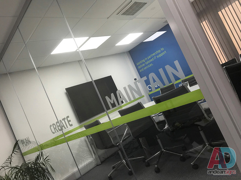 Cyan, vinyl graphics applied to glass walls