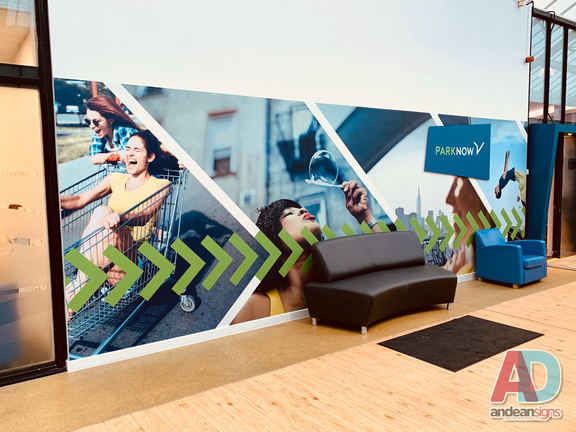 Park now, digitally printed wall graphics with a built up sign