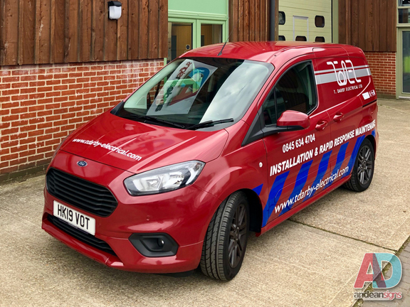 T Darby - Full single colour wrap with vinyl cut lettering
