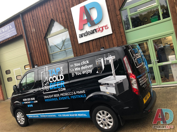 Ford transit custom, with digitally printed images and vinyl cut graphics for Tap cold beer