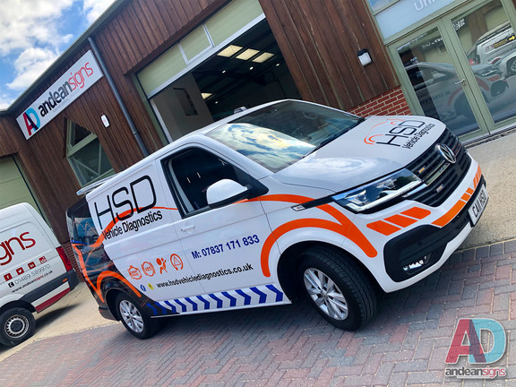 Volkswagen Transporter - With digitally printed design, vinyl cut lettering and reflective swirls and chevrons