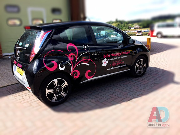 Belle Massage Therapy - cut vinyl vehicle graphics using 3 colours