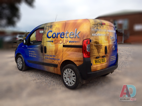Coretek, complete printed wrap, with cut vinyl text