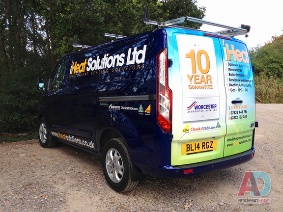 iHeat Solutions - Ford Custom rear doors wrapped and cut vinyl graphics
