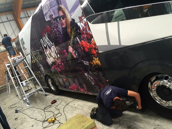 London Fashion Week coach wrap. Work in progress!