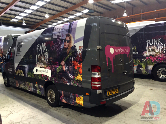 ndon Fashion week - Mercedes Sprinter, complete vehicle wrap , clearvision applied to windows