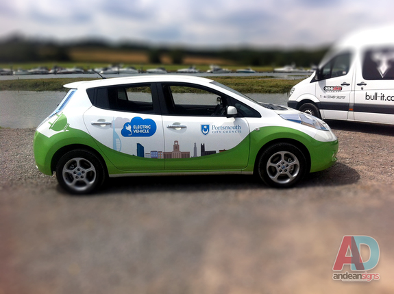Portsmouth Council - Nissan Leaf half vehicle wrap with cut vinyl graphics