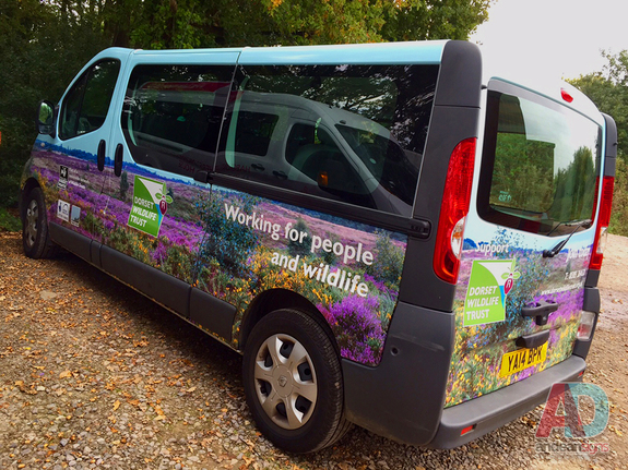 Dorset Wildlife Trust - Renault Trafic, complete printed vehicle wrap with cut vinyl graphics