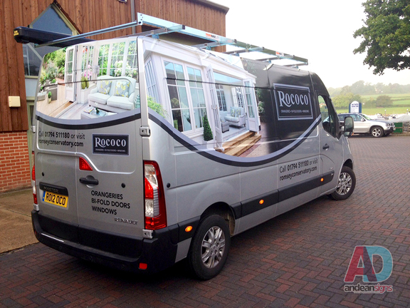 Rococo - Renault Master half vehicle wrap with cut vinyl graphics