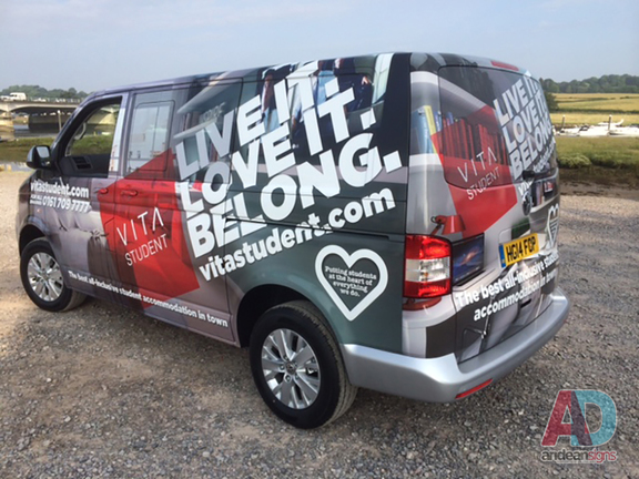 VW T5 complete vehicle wrap with clearvision applied to windows