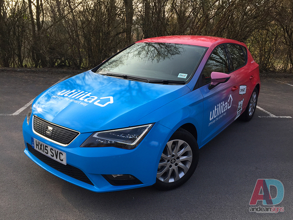 Utilita - Seat Leon complete printed wrap, with cut vinyl text graphics
