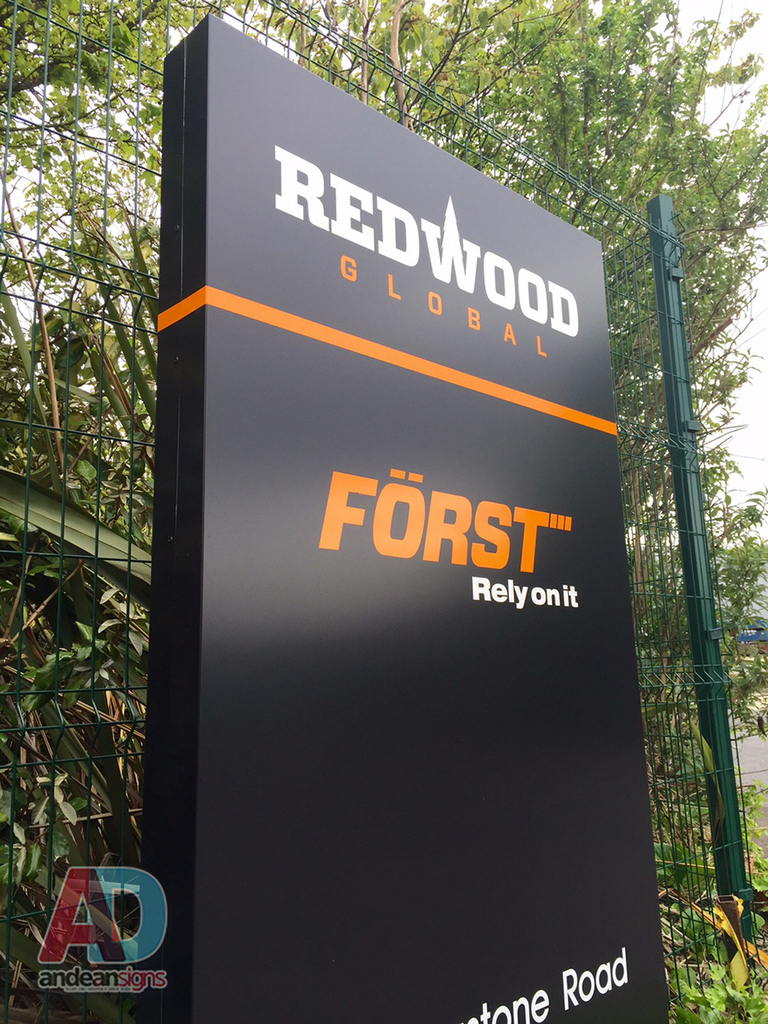 Redwood  -  Black Matt Composite Monolith Sign with vinyl text