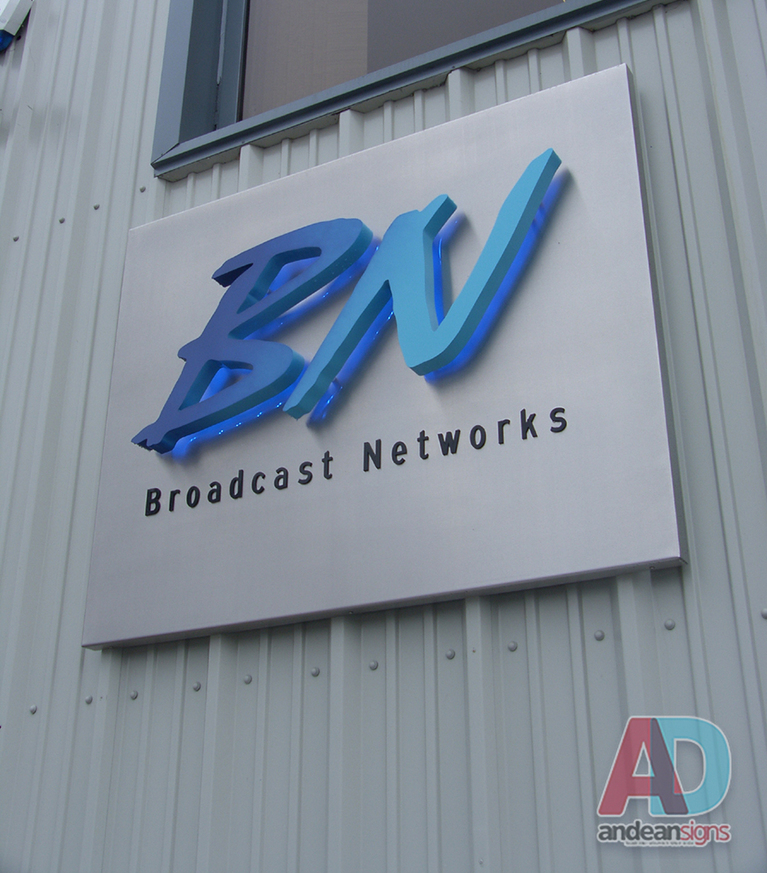 Bn Networks - Sign Tray mounted with Built up Metal Letters, Powder coated with faded finish with blue LED Illuminators