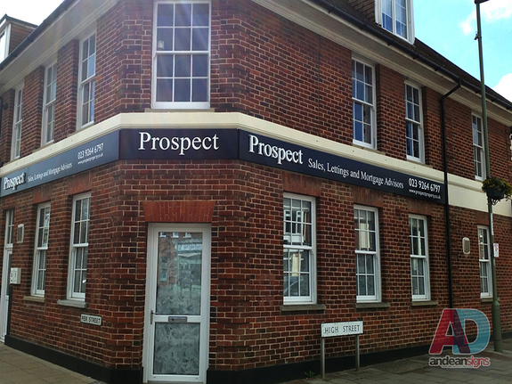 Prospect - Bespoke Fabricated Sign Trays with Raised Stainless Steel letters