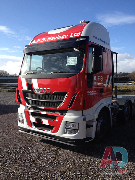 AFS Haulage - Iveco Stralis - Cab wrap with cut vinyl overlays