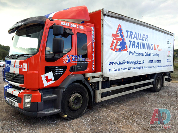 Trailer Training - Cab wrap, with curtain vinyl overlays