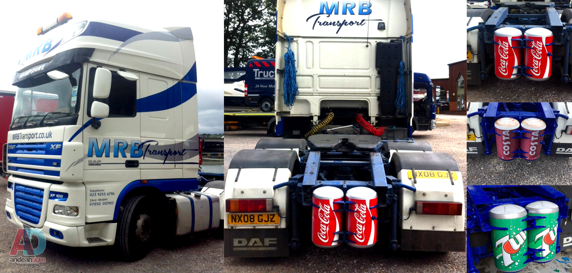 MRB Transport - Cut vinyl and prints applied to Cab.... and a bit of fun wrapping rear cans!