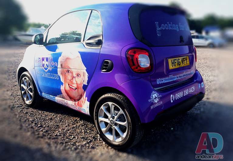 Smart Car, complete printed vehicle wrap with cut vinyl graphics
