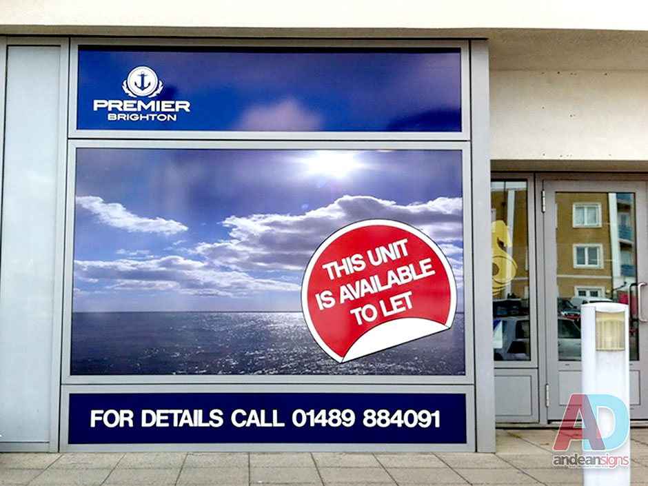 Premier Marinas - Solid vinyl print applied to window
