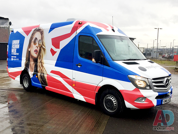 London Fashion week - Mercedes Sprinter, complete vehicle wrap , clearvision applied to windows