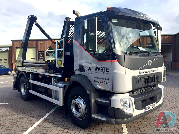 The Waste Group - Volvo FL Skip Truck -  Full cab wrap and cut vinyl graphics