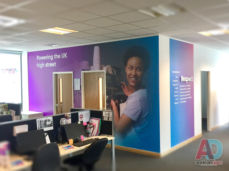 Digitally printed wall graphics with vinyl cut lettering