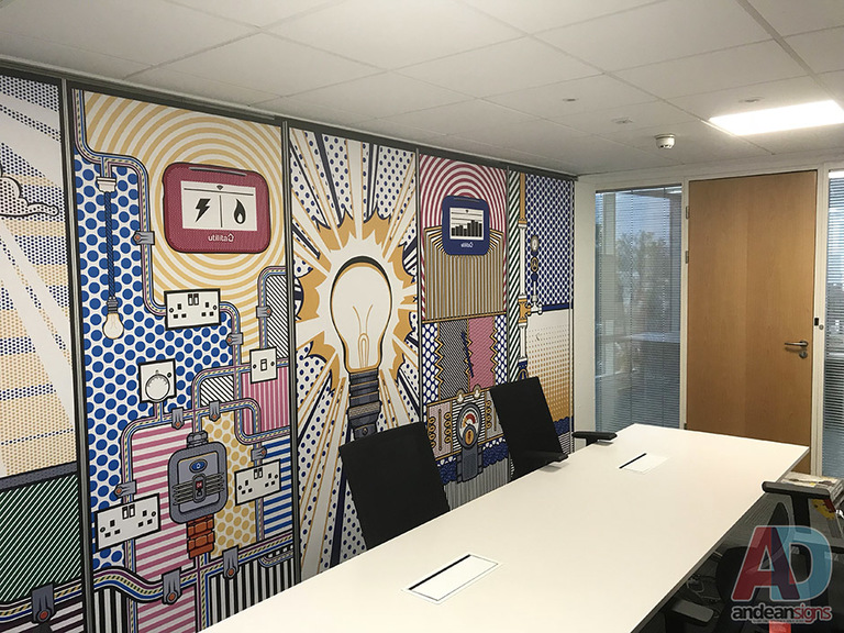 Digitally printed design for office wall