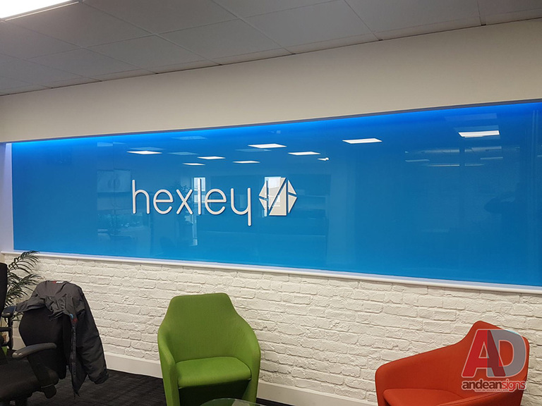 Hexley acrylic panels with Blue vinyl to rear -  10mm white acrylic letters 2